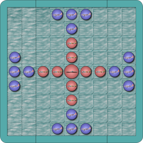 Sea Battle Tafl assembled (mockup).
