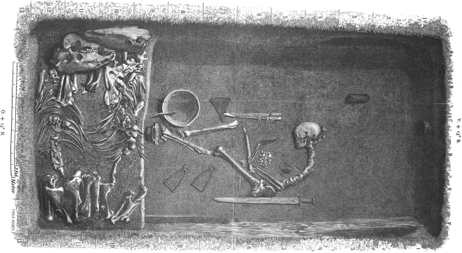 Birka grave 581, in which the warrior appears to be cradling her hnefatafl set.