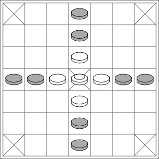 Diagram of a brandub board set out for play.