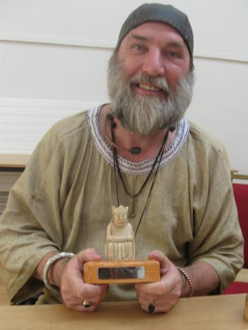 Pete Jennings with his English National Hnefatafl Championship trophy