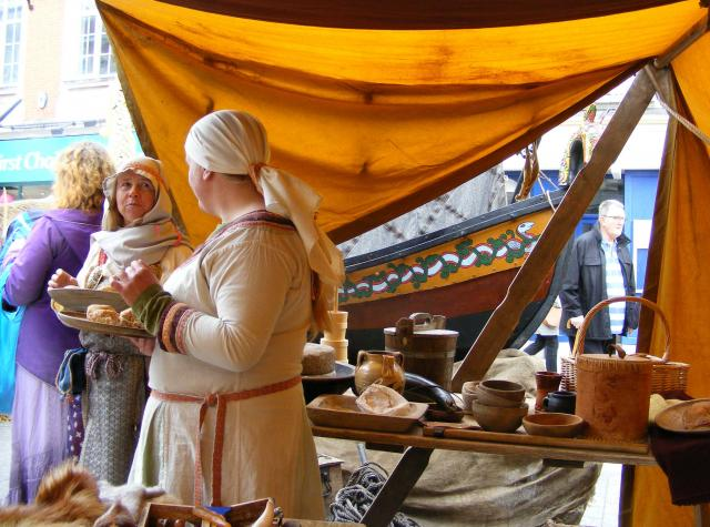 A mediaeval-themed market stall.