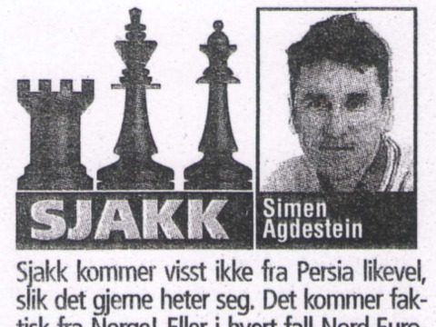 "Norwegian chess column ""Sjakk"""