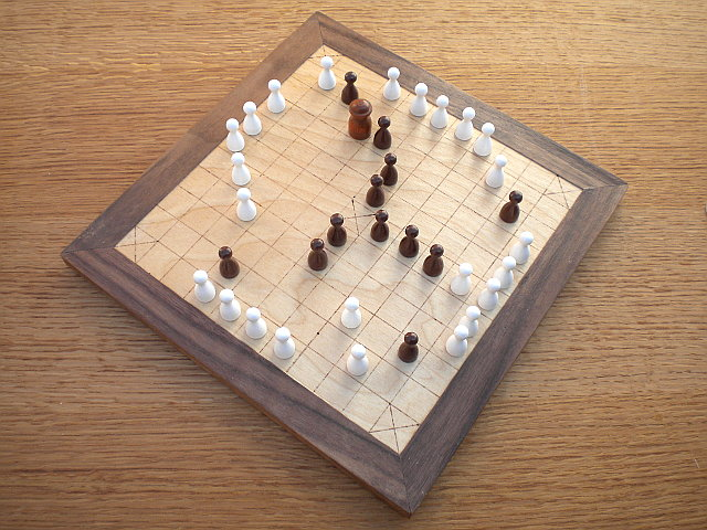 Compact 37-piece Hnefatafl Game, with game in progress