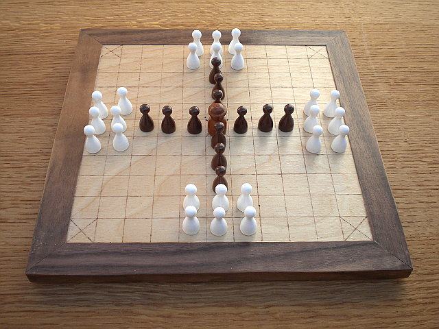 Compact 37-piece Hnefatafl Game, with F. R. Lewis' layout