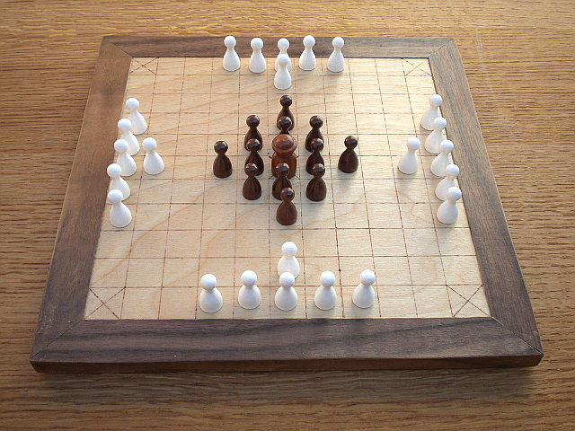 Compact 37-piece Hnefatafl Game set out for Fetlar hnefatafl