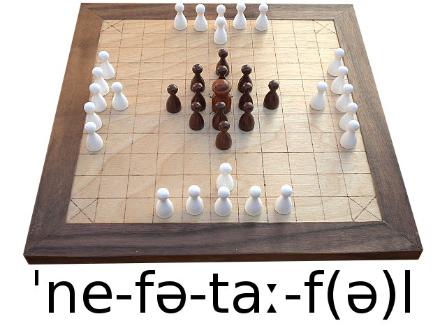 Approximation of the pronunciation of hnefatafl.