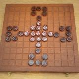 Dardell Hnefatafl set up for Tawlbwrdd.