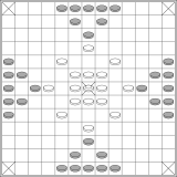 David Parlett published this layout for the 13x13 board.