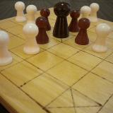 Classic 13-piece Hnefatafl Game seen close up