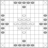 A typical layout for the 11x11 board