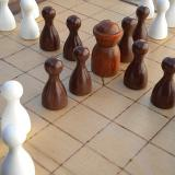 Compact 25-piece Hnefatafl Game, close-up of the king and defenders