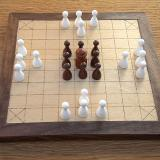 Compact 25-piece Hnefatafl Game set up for Papillon or Ealdfaeder taefl